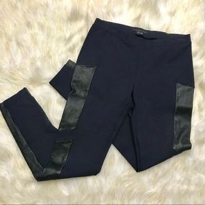 Theory Hasna Rave Navy Leggings Leather Panels S